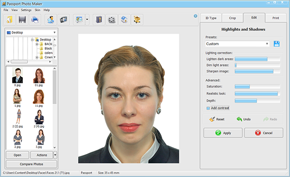 Fix lighting issues of your ID photo