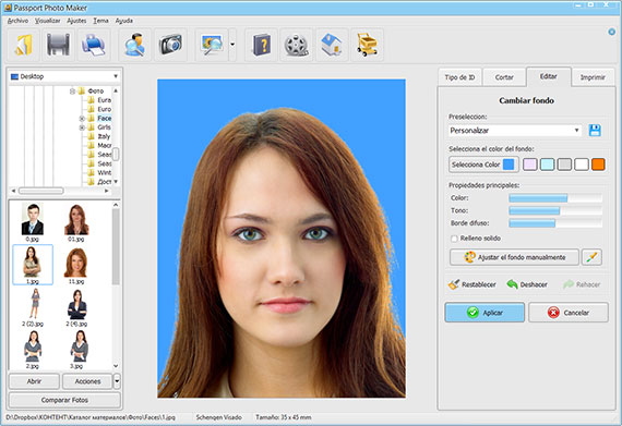 Cambia el color de fondo para fotografias de identificacion en Passport Photo Maker