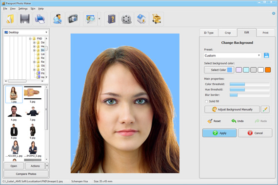 Change background color for ID photos in Passport Photo Maker