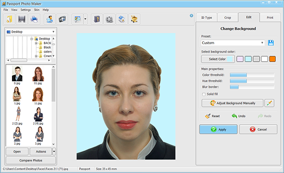 Change the background of your ID photo
