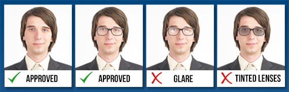 Facial expression and glasses in a passport photo