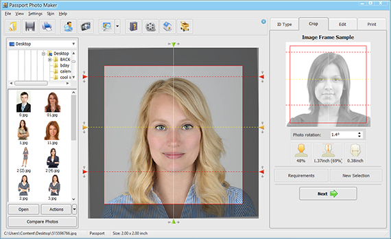 Edit your ID photo in Passport Photo Maker