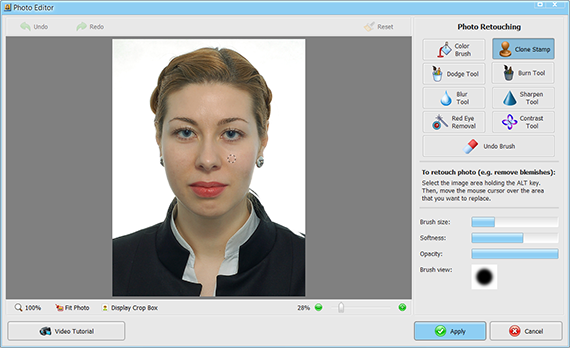 Use the Retouch tool in Passport Photo Maker