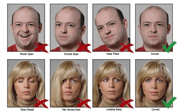 Good and bad digital passport photo examples
