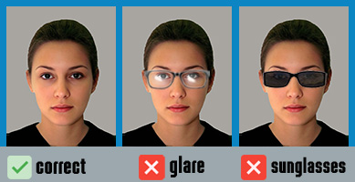 Standards concerning glasses on UK passport photos